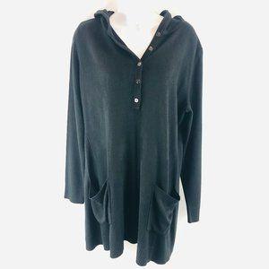Susan Graver Black Hooded Sweater L
